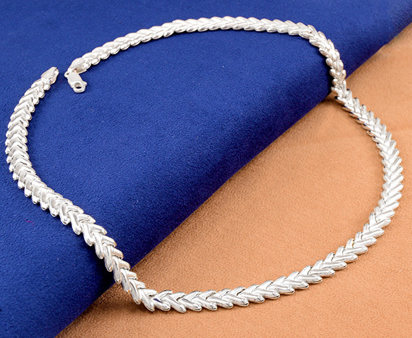 Flat Herring link 925 Sterling Silver Necklace , 20-inches