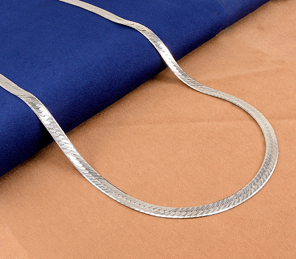 Bold Gents' Wide Herringbone 925 Sterling Silver Chain, 20 inches