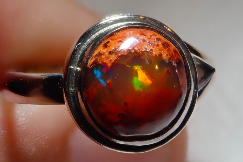 7.25size Natural Mexican Cantera Opal .925 Sterling Silver