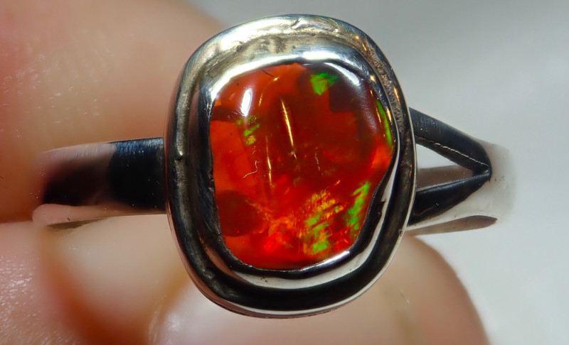 5.50size Natural Mexican Opal .925 Sterling Silver
