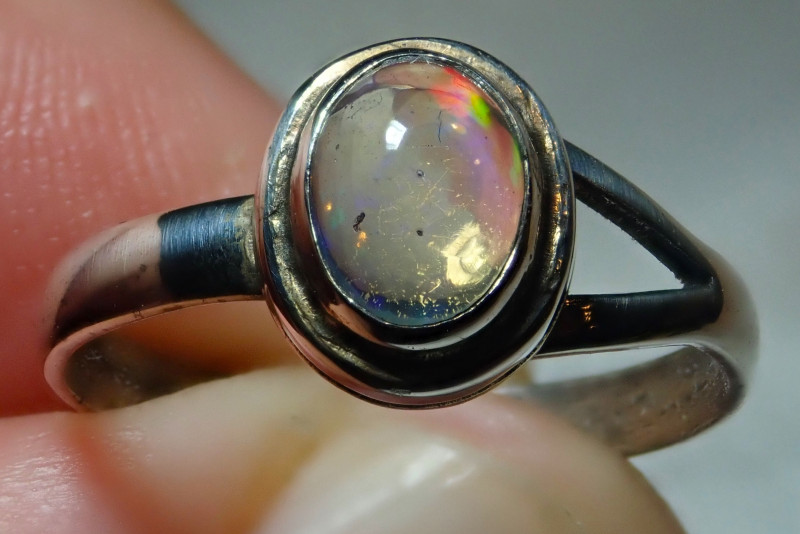 6size Natural Mexican Opal .925 Sterling Silver