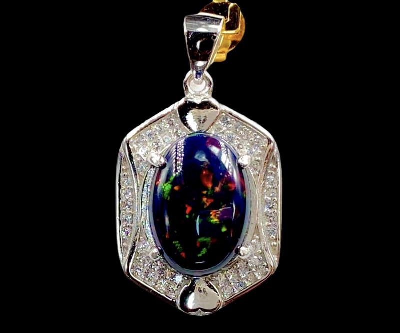 4.08ct. Ravishing Natural Opal Black Smoked Treated Dramatic Fire Silver925