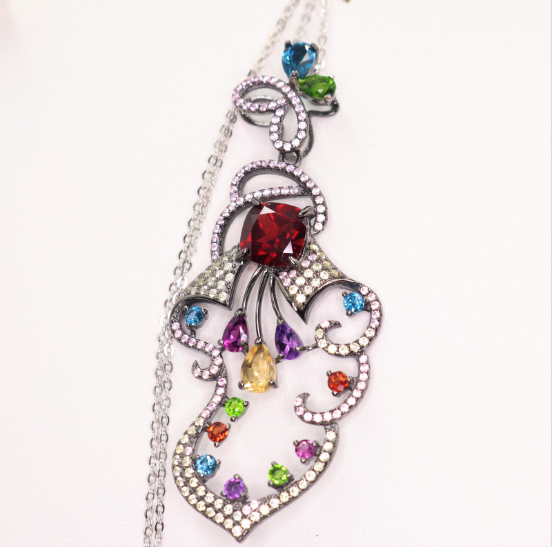 Gorgeous Natural Multi Stone, CZ & 925 Stylish Design  Sterling Silver