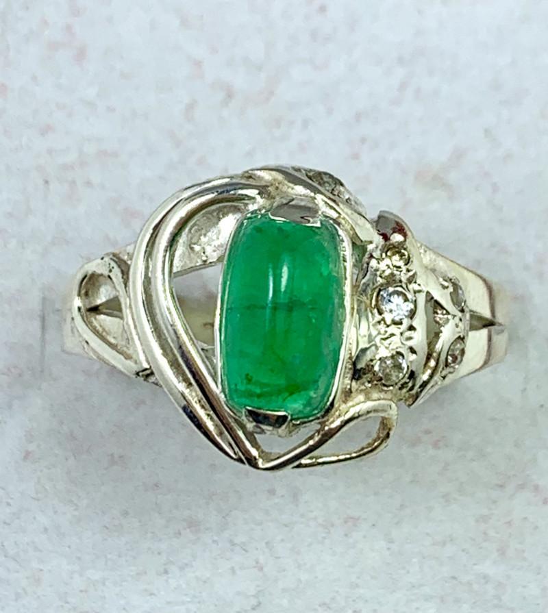 20 carats Natural Green Swat Emerald 925 Silver Ring.