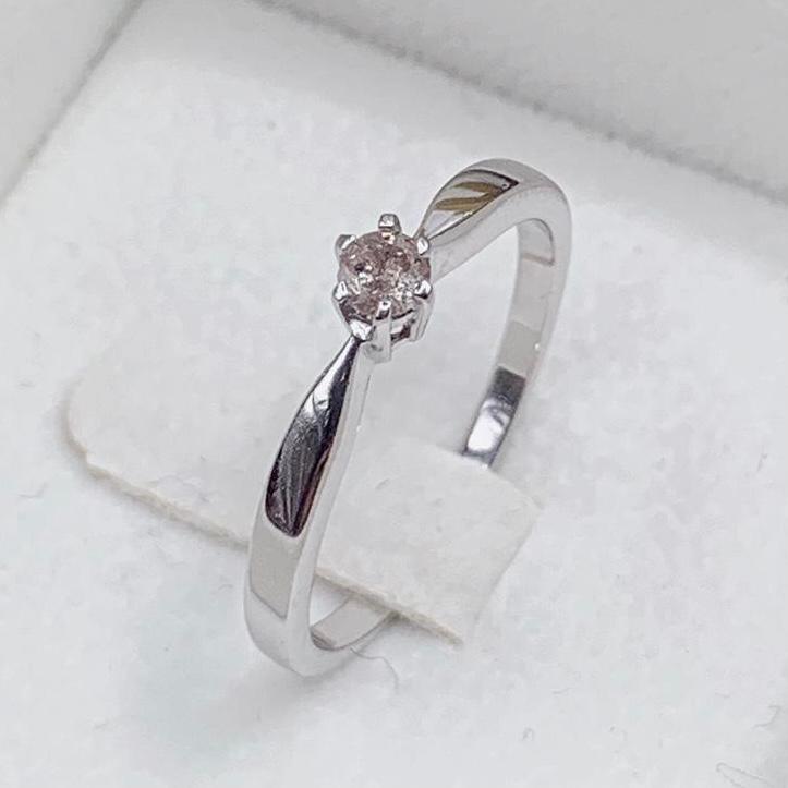 Stylish Classic Natural Diamond  0.11 Cts ~ Silver  Ring