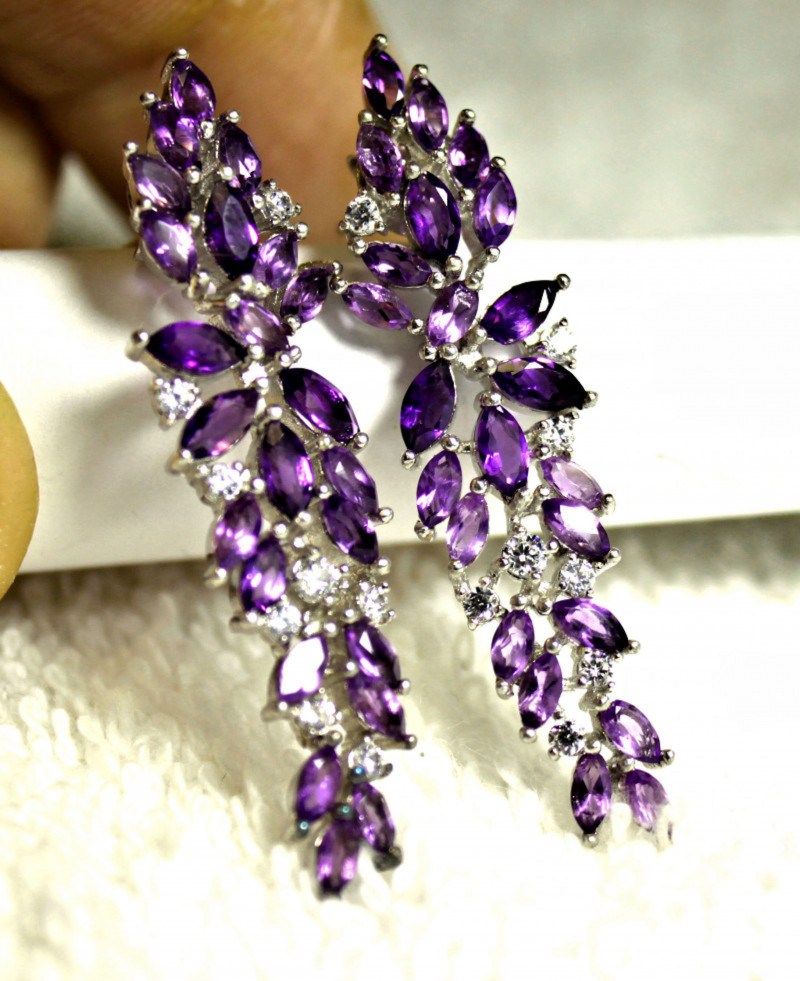 36.5 Tcw. Amethyst, Sterling Silver, Gold Plated Earrings 43mm - Gorgeous