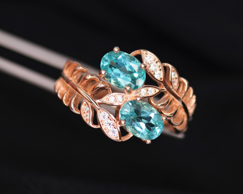 Fabulous Natural Apatite, CZ & 925 Fancy Rose Gold Sterling Silver Ring
