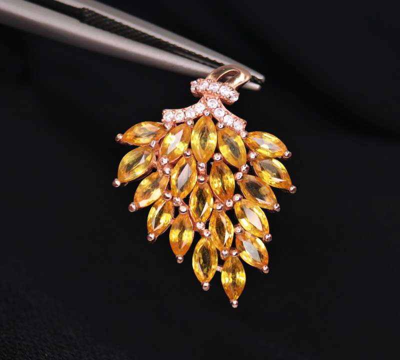 Gorgeous Natural Orange Sapphire, CZ & 925 Fancy Rose Gold Sterling Silver
