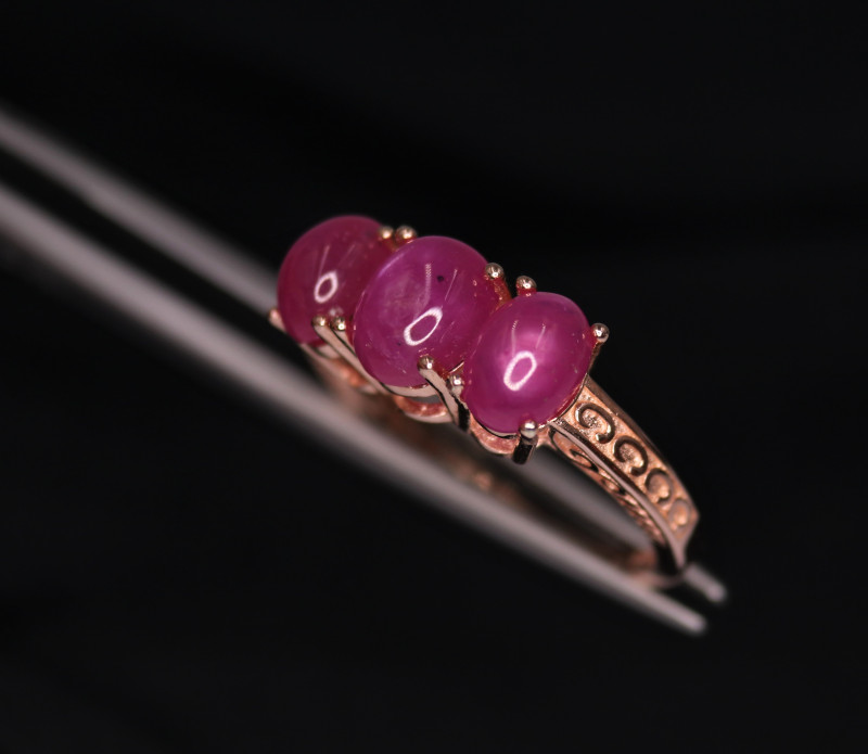 Faboulus Natural Ruby & 925 Fancy Rose Gold  Sterling Silver