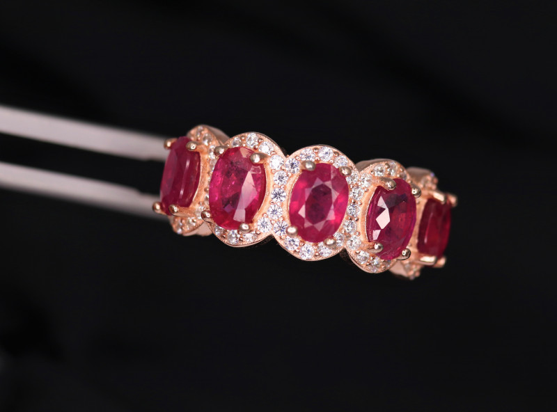 Gorgeous Natural Ruby, CZ & 925 Fancy Rose Gold  Sterling Silver