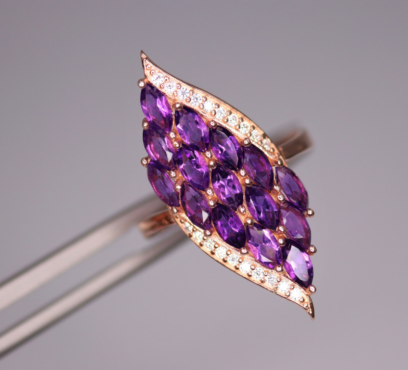 Gorgeous Natural Amethyst, CZ & 925 Fancy Rose Gold Sterling Silver