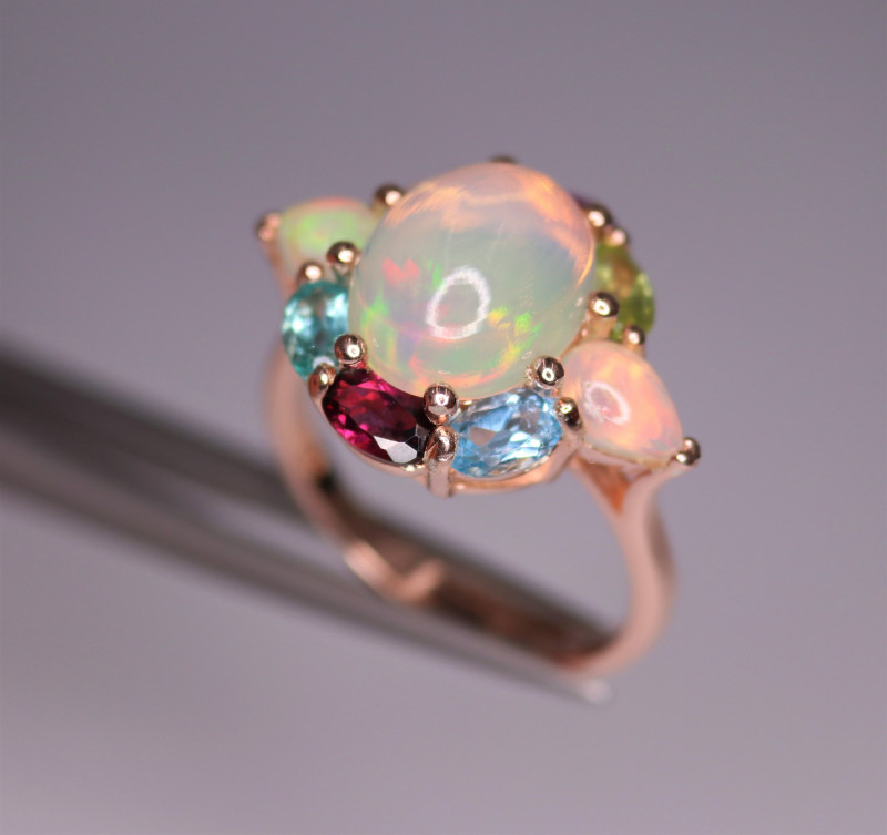Fabulous Natural Multi Stones, CZ & 925 Fancy Rose Gold Sterling Silver
