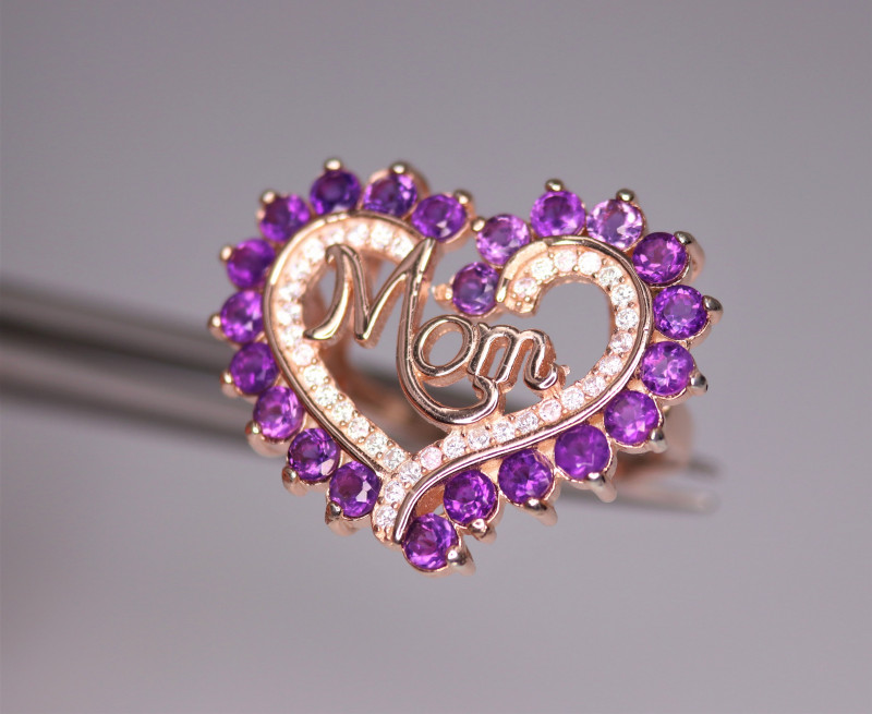 Attractive Natural Amethyst, CZ & 925 Fancy Rose Gold Sterling Silver