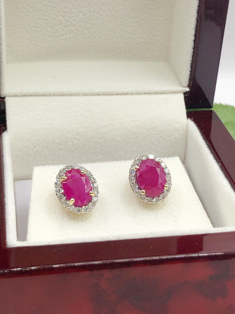 Excellent Multi Natural Diamond  Ruby 9K Yellow gold Earring