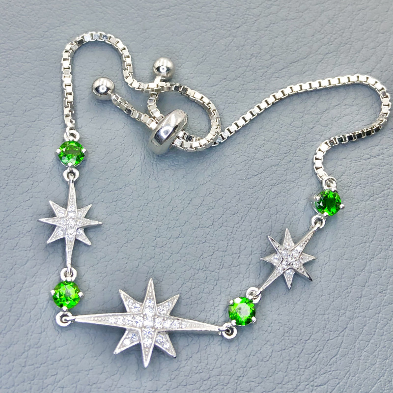 Sparkling~Diopside~Bracelet~CZ