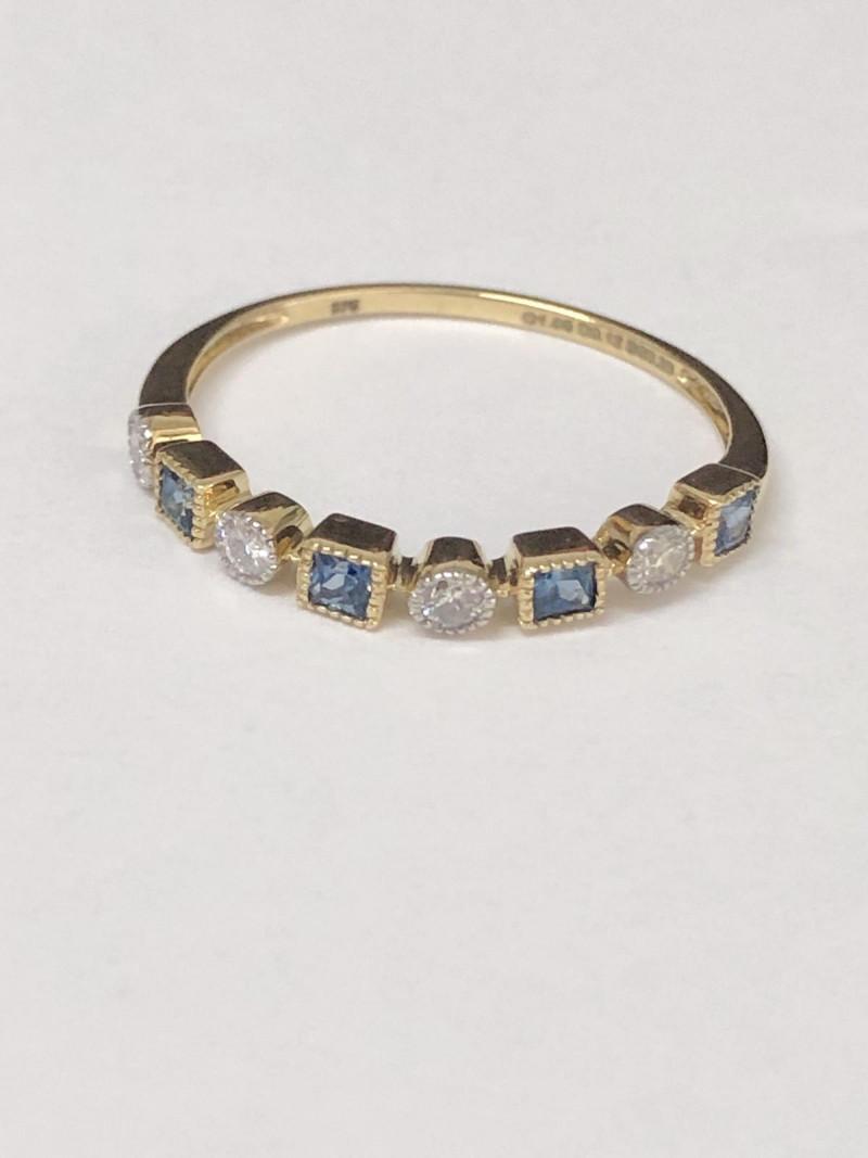 Excellent Natural Diamond Ceylon Sapphire 9K Yellow gold Ring