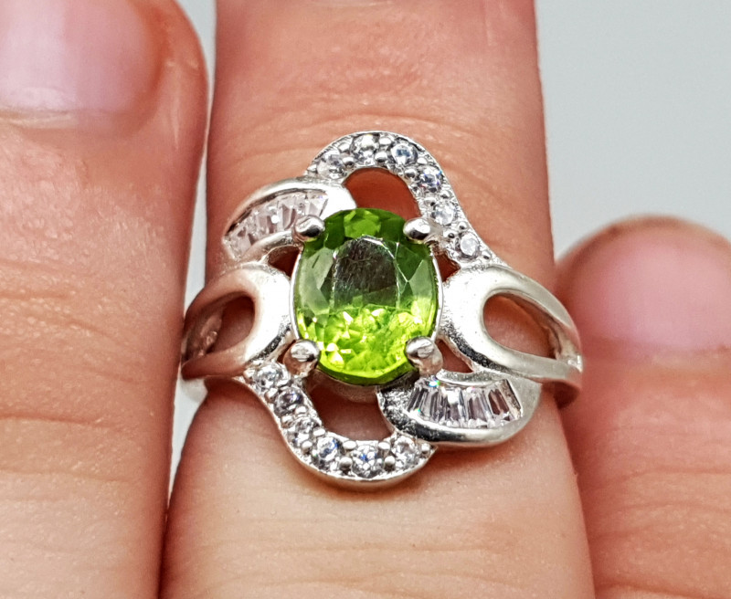 Peridot Ring   Women Ring   925 Silver Ring   Natural Peridot Ring