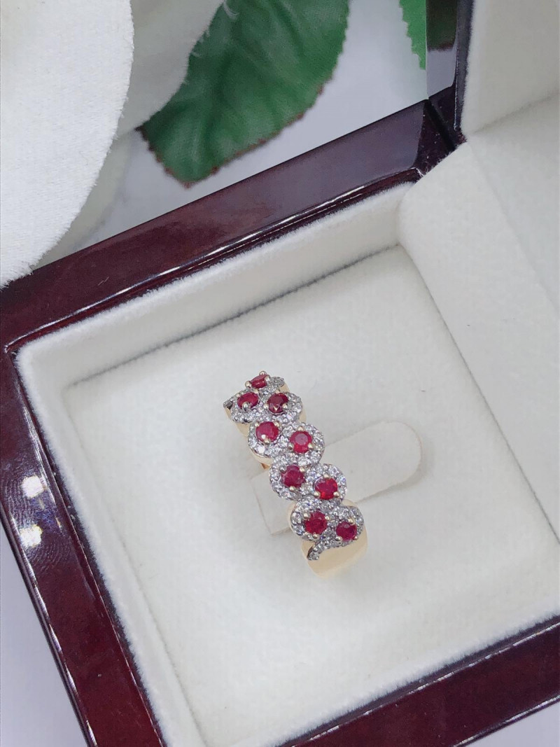 Classic style Pigeon Blood Ruby,cluster white diamond 9KYellow gold Ring