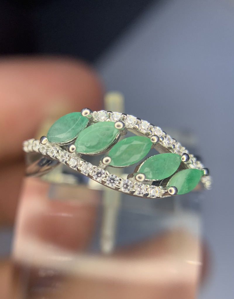 Natural Emerald Ring with CZ.