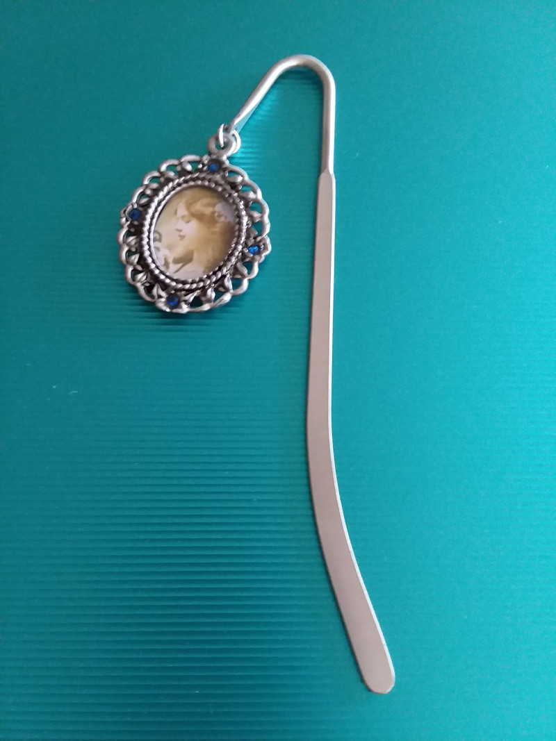 PEWTER BOOKMARKER WITH BLUE AUSTRIAN CRYSTAL ACCENTS