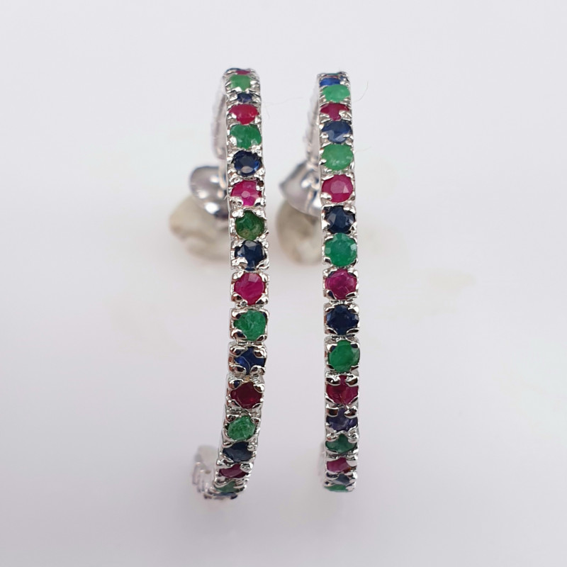 56 stones Natural Emerald Sapphire and Glass filled Ruby Earrings.