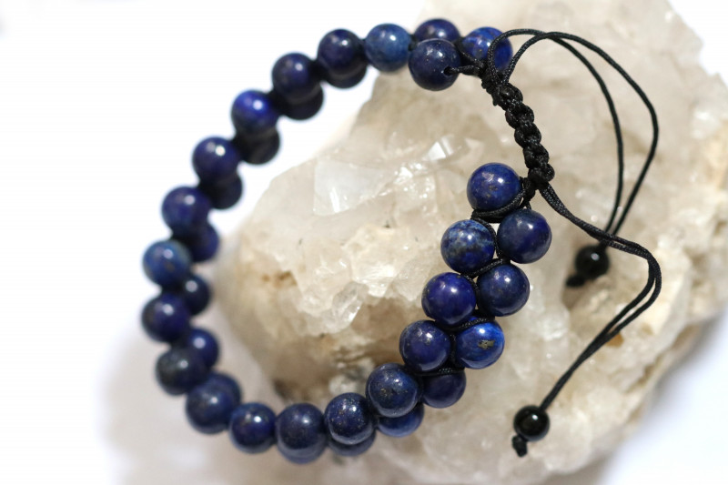 Dual 8mm lapis lazuli bracelet code AHA 1567