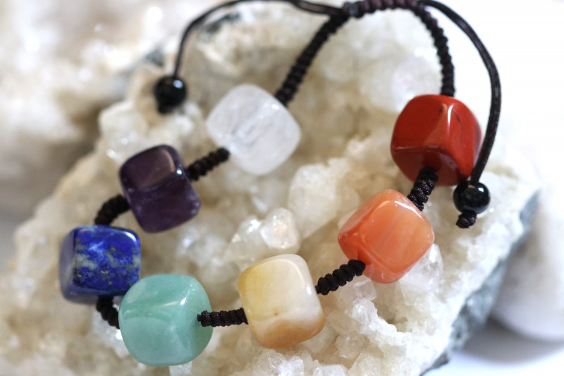 7 Sq Stone  Chakra Bracelet code AHA  1573