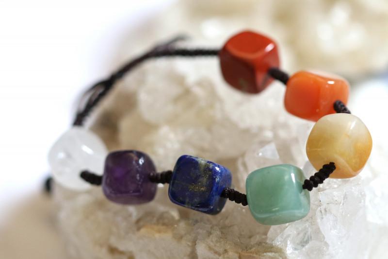 7 Sq Stone  Chakra Bracelet code AHA  1574