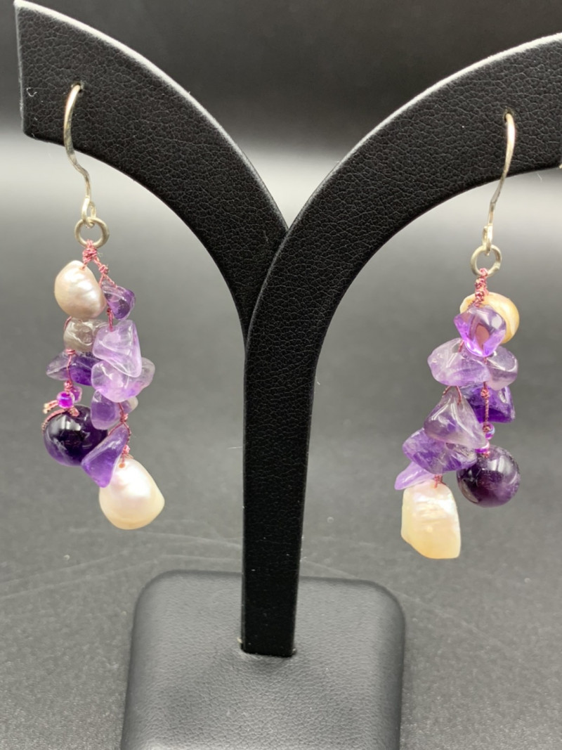 Exclusive Design, Beautiful Amethyst With Fresh Water pearl Earring. Er-598