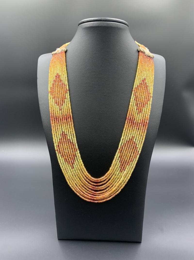 Brilliant Design Yellow & Rare Fanta Color Sapphire Necklace.