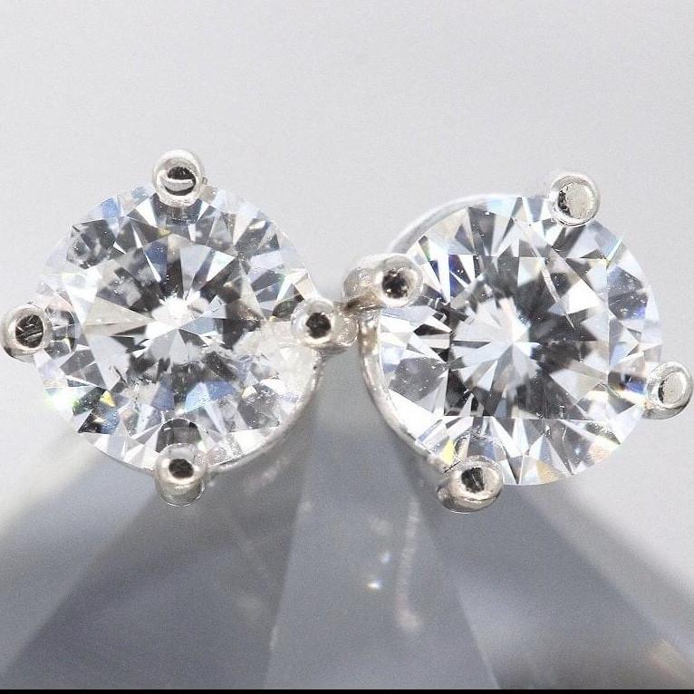 0.62 Ct 14K White Gold Diamond Stud Earrings