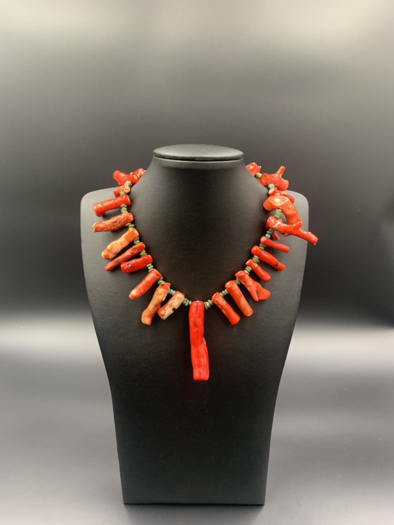 Beautiful Tribal Design Red Coral With Turquoise Necklace. Cor-410