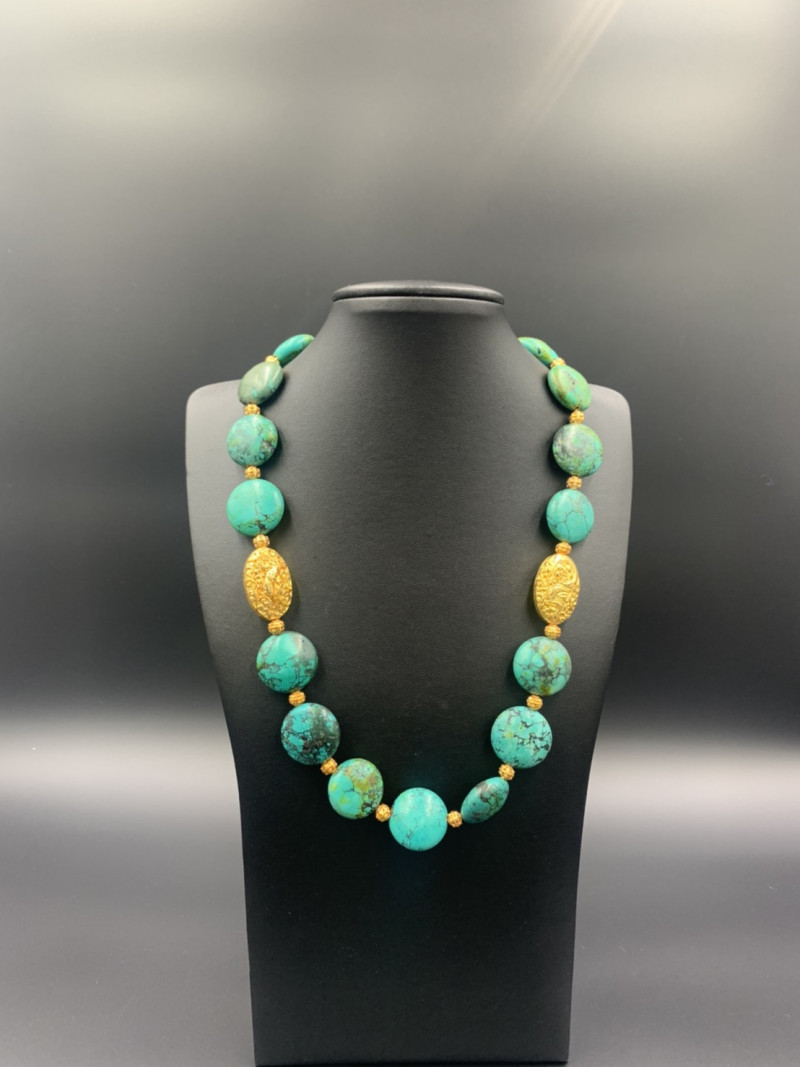 Natural Tibetan Turquoise with Metal Polished Beads Necklace. Tr-463