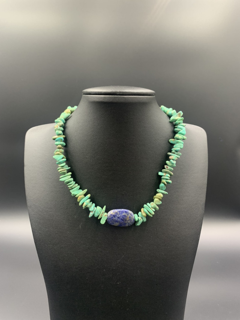 Exclusive Beautiful Natural Turquoise with Lapis Necklace. Tr-681