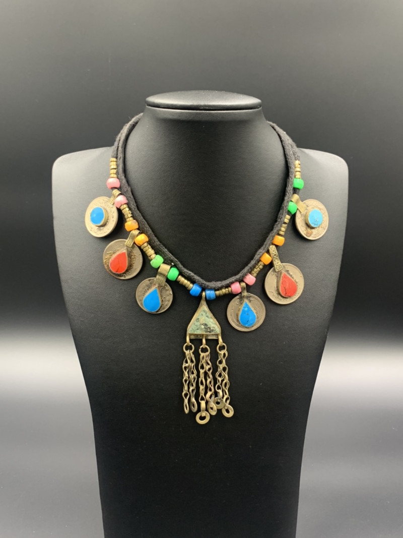 Amazing Traditional Old Afghani Coins Handmade Necklace. con-591