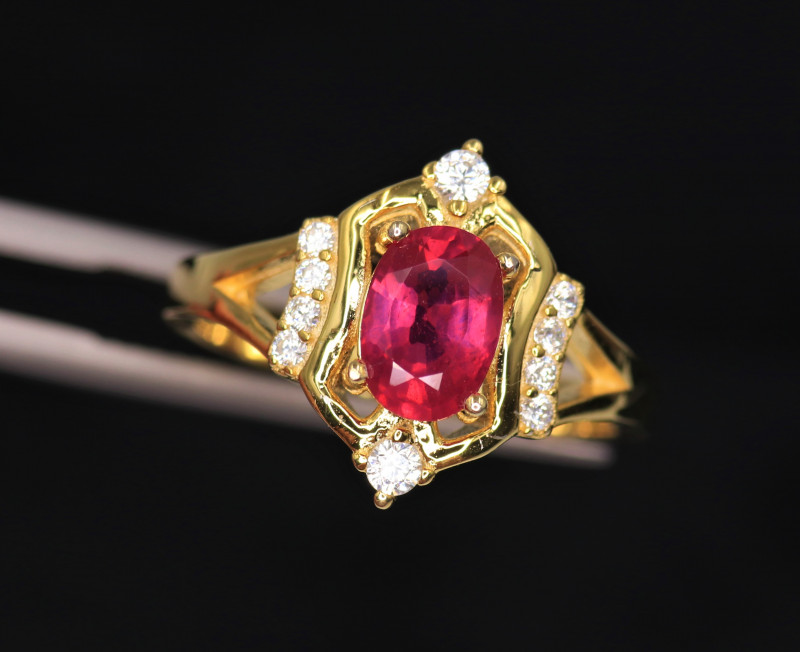 Gorgeous Natural Ruby, CZ & 925 Stylish Yellow  Sterling Silver