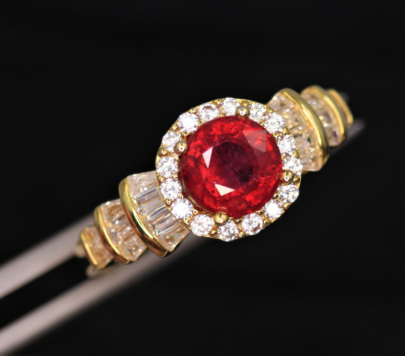 Gorgeous Natural Ruby, CZ & 925 Fancy Yellow Sterling Silver