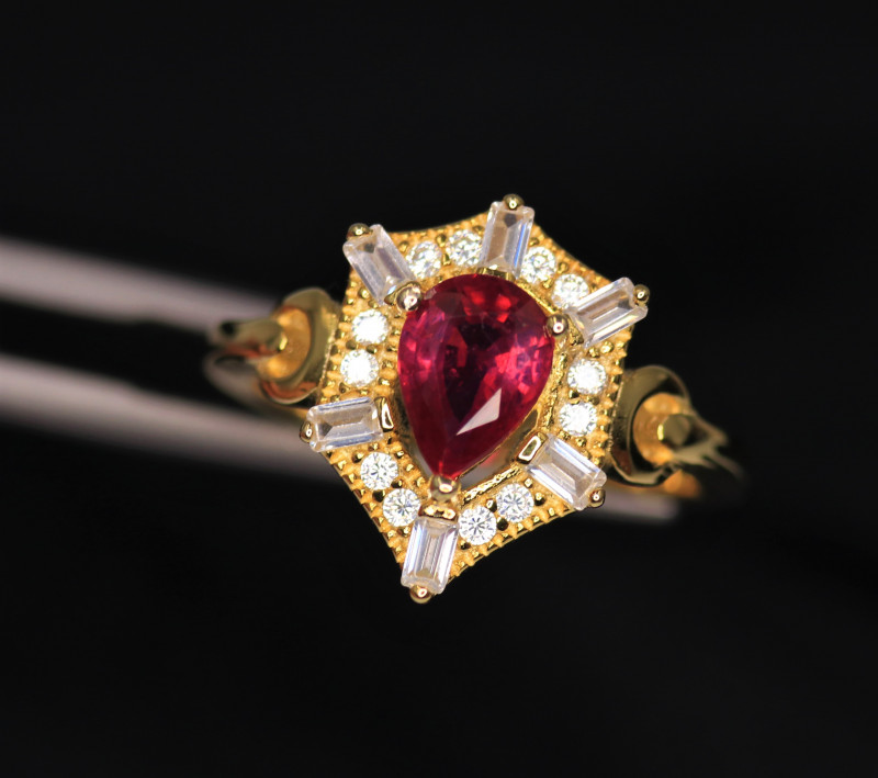 Gorgeous Natural Ruby, CZ & 925 Fancy Yellow Sterling Silver Ring