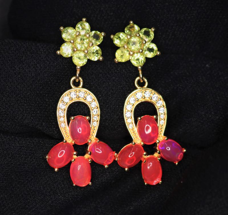 Fabulous Natural Pink Fire Opal,  Peridot, CZ & 925 Stylish Yellow  Sterlin