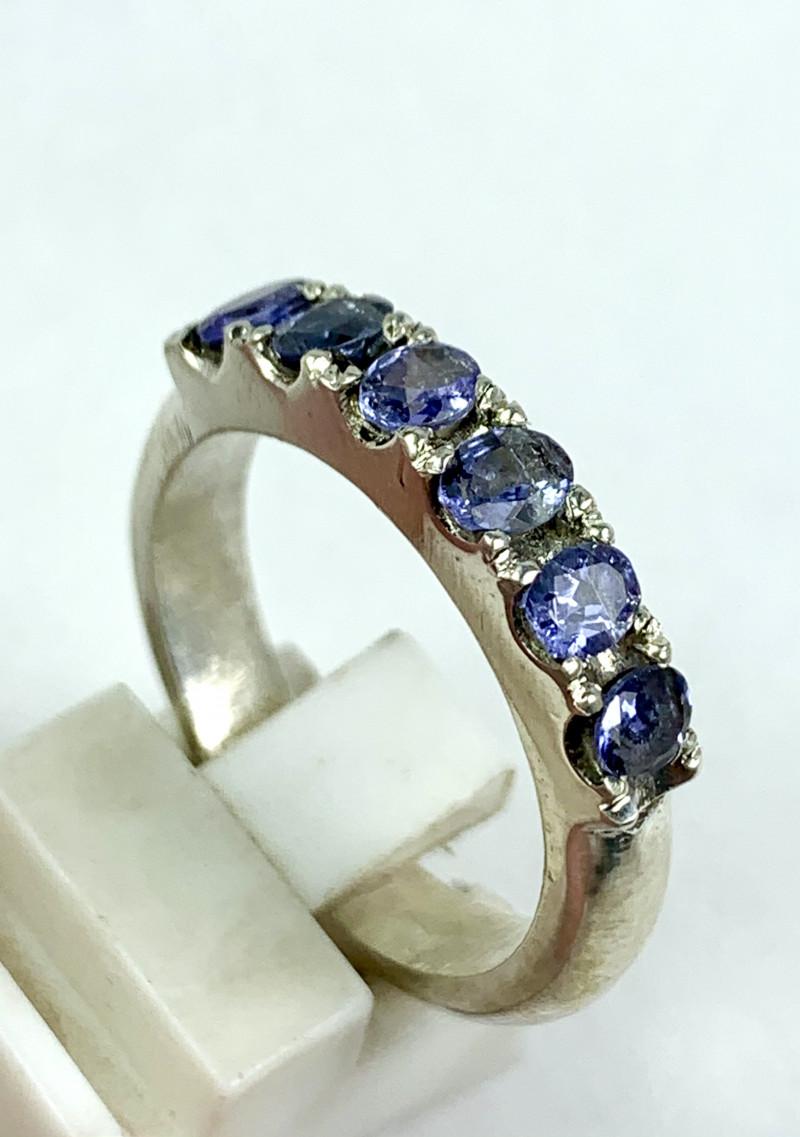 31.00 Carats 6pics Tanzanite Hand Made 925 Silver Ring.
