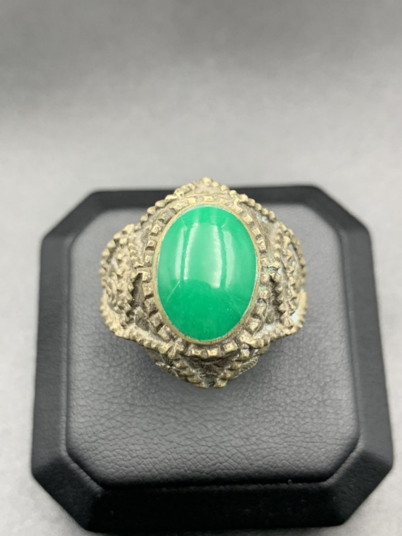 Traditional Old Afghani Handmade Ring With Unknown Green Stone. Af-8390