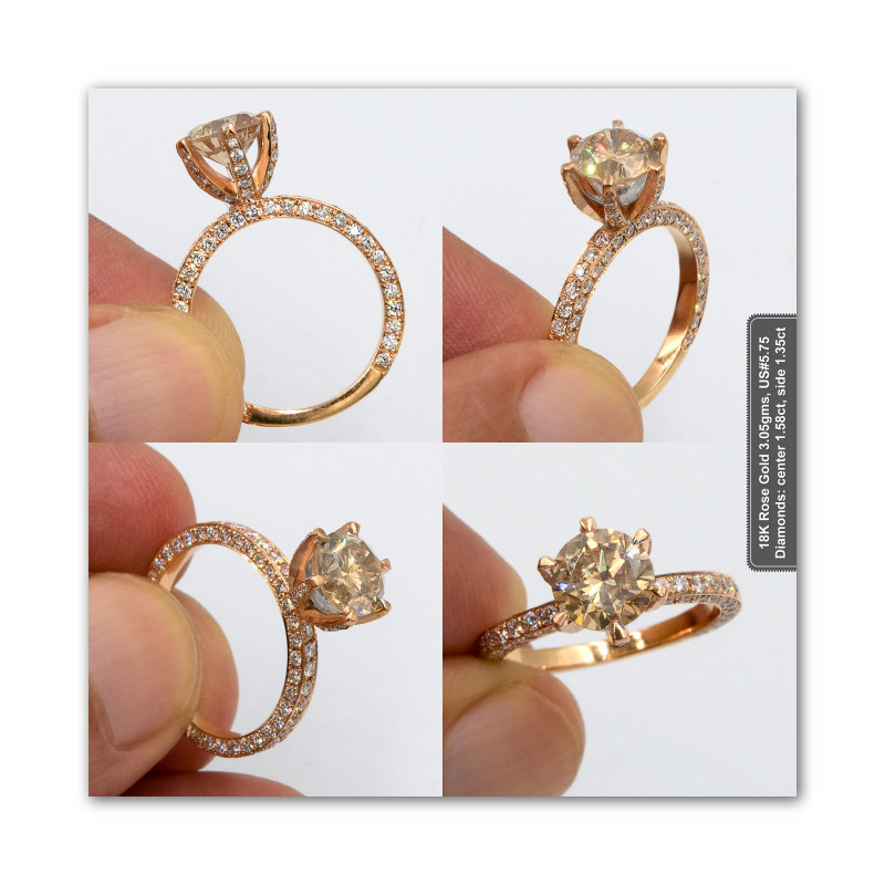 2.85tctw Fancy Brown Natural Diamond in 18K Rose Gold Ring white diamond accents