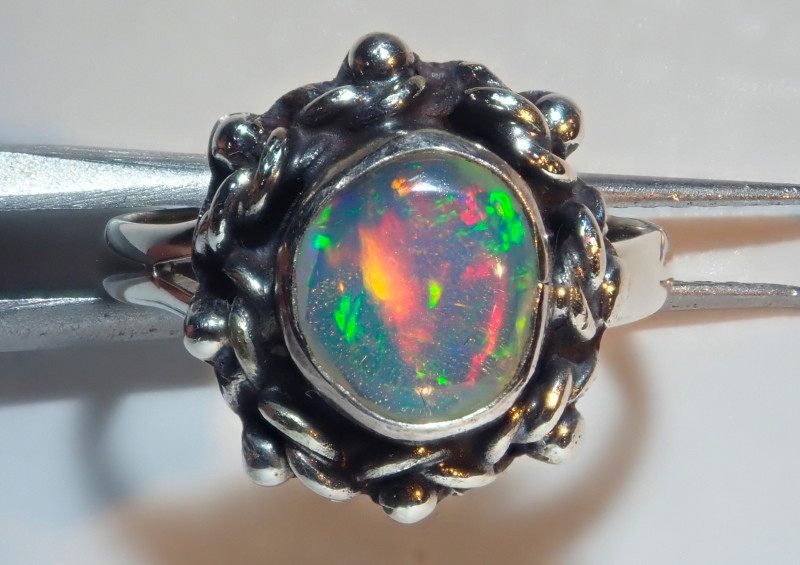 3.50size Natural Ethiopian Welo Midi Ring Opal .925 Sterling Silver
