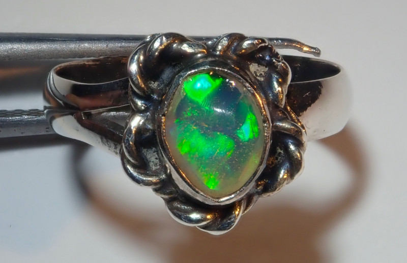 2.75size Natural Mexican Midi Ring Opal .925 Sterling Silver