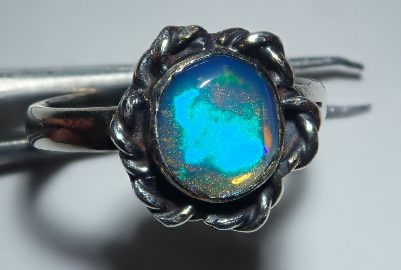 2.50size Natural Mexican Midi Ring Opal .925 Sterling Silver