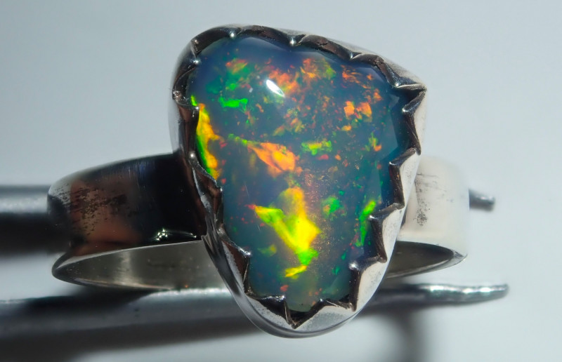 3size Natural Ethiopian Welo Midi Ring Opal .925 Sterling Silver