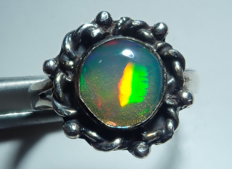 2.75size Natural Ethiopian Welo Midi Ring Opal .925 Sterling Silver