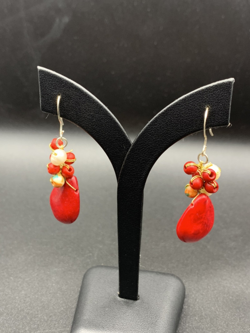 Exclusive Beautiful Dyed Coral & Fresh Water Pearls Earrings. Cr-594