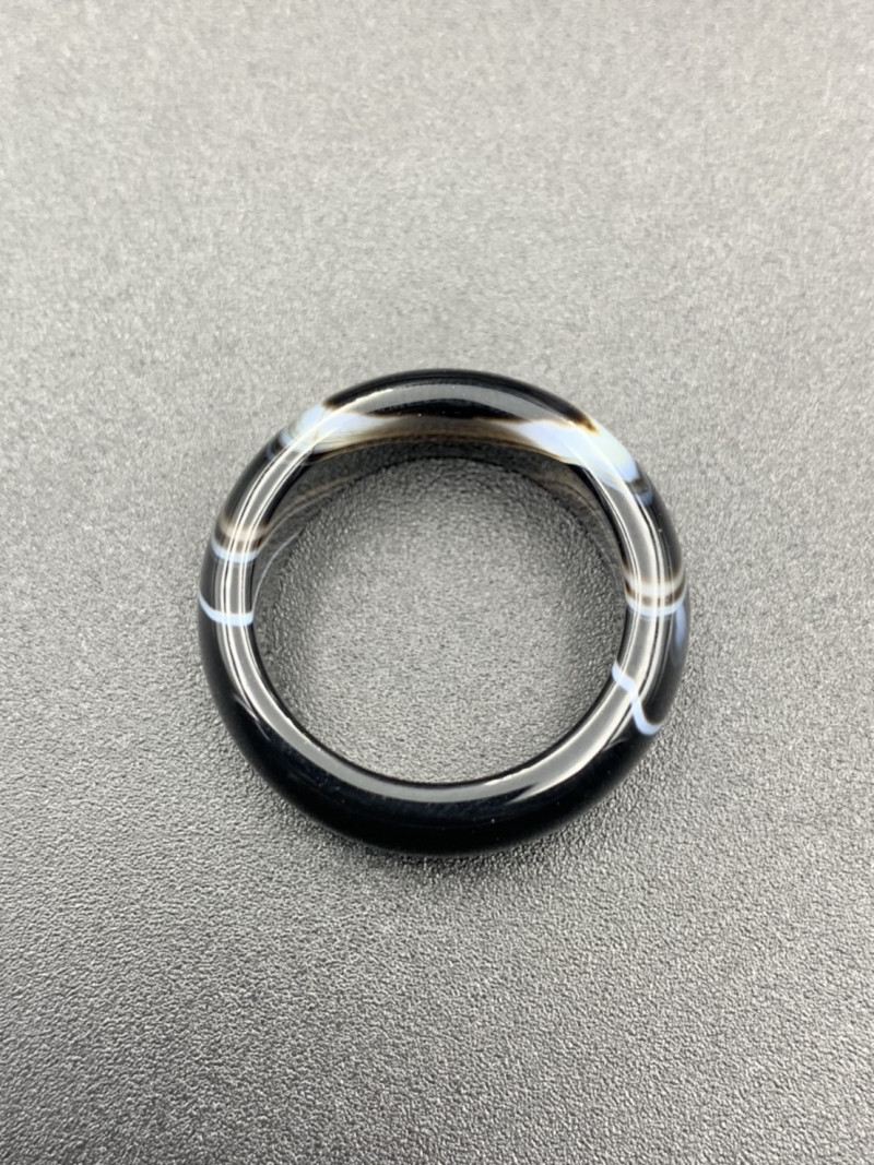 Excellent Natural Black Agate With Nice Pattern Ring. Ag-598