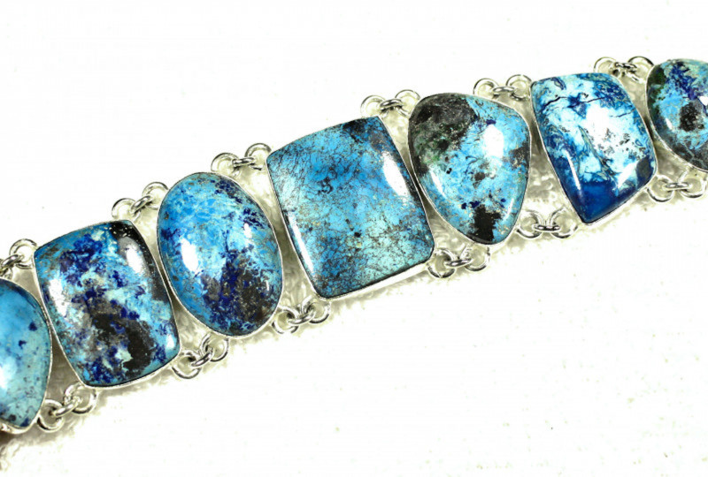 255.5 Tcw. Sterling Silver, Blue Himalayan Turquoise Bracelet